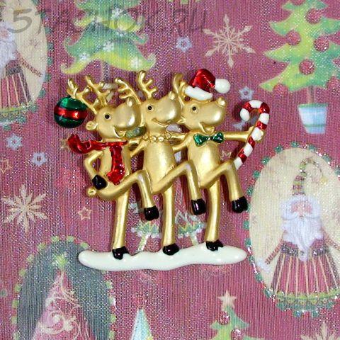 """Брошь """"Новогодние олени"""" цвет золота/эмаль (Danecraft США)"""